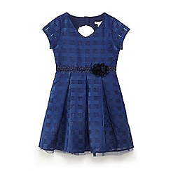 Yumi Girl - Navy check organza 'Brandi' fit and flare dress