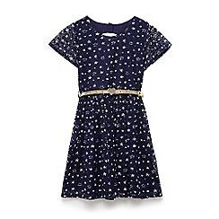 Yumi Girl - Girls' navy stretch lace star skater dress