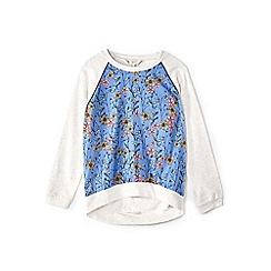 Yumi Girl - Girl blue floral print jumper