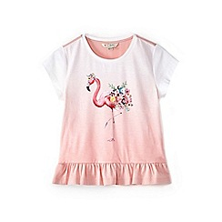 Yumi Girl - Girl light pink flamingo print ombre t-shirt