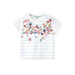 Yumi Girl - Girl aqua floral and striped t-shirt