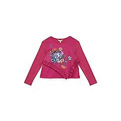 Yumi Girl - Plum frilled botanical print jersey top