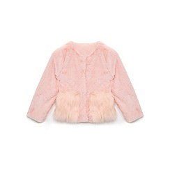 Yumi Girl - Girls' pale pink mixed faux fur jacket