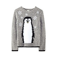 Yumi Girl - Grey fluffy penguin jumper