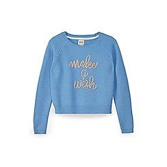 Yumi Girl - Blue make a wish knitted jumper