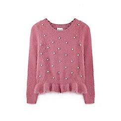Yumi Girl - Pink ruffled hem jumper with pearls