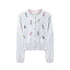 Yumi Girl - Light grey floral embroidery knitted cardigan