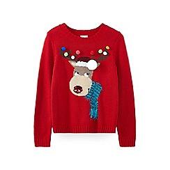 Yumi Girl - Red festive reindeer jumper