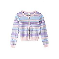 Yumi Girl - Girl purple striped cardigan with scallop