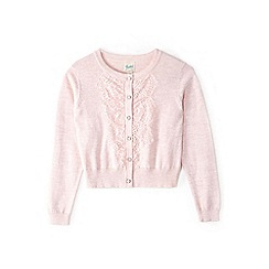 Yumi Girl - Girl light pink front lace placket cardigan