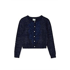 Yumi Girl - Girl navy front lace placket cardigan