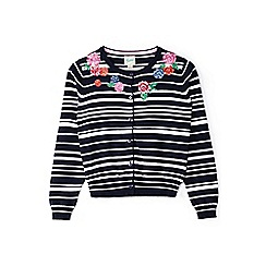 Yumi Girl - Girl navy floral embroidered striped cardigan