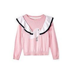 Yumi Girl - Girl pink seagull intarsia knit jumper