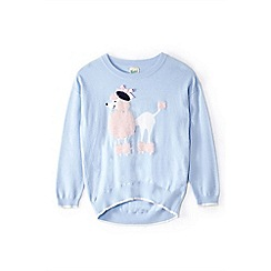 Yumi Girl - Girl light blue poodle intarsia knit