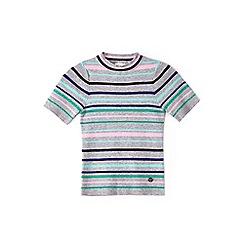 Yumi Girl - Girl grey multicoloured striped jumper