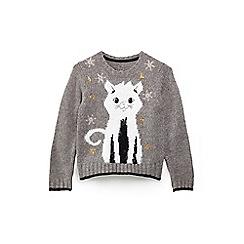 Yumi Girl - Girls' grey cat Christmas jumper