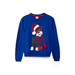 Yumi Girl - Girls' blue snowy dog Christmas jumper