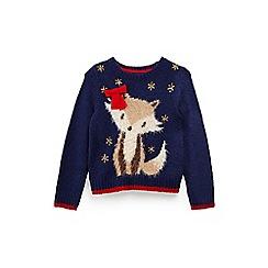 Yumi Girl - Girls' blue embellished fox Christmas jumper