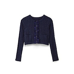 Yumi Girl - Girls navy pointelle stitch cardigan