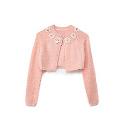 Yumi Girl - Girls' pale pink crocher flower cardigan