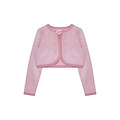 Yumi Girl - Light pink lurex jacquard cardigan