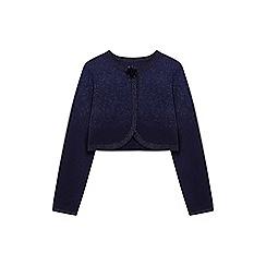 Yumi Girl - Navy lurex jacquard cardigan