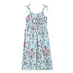 Yumi Girl - Girl light blue casual butterfly jumpsuit