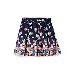 Yumi Girl - Girls' navy floral panel skirt