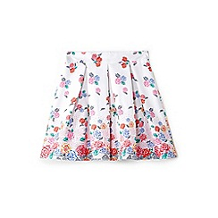 Yumi Girl - Girls' white floral panel skirt