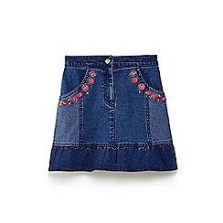 Yumi Girl - Mid blue floral embroidered denim skirt