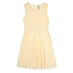 Yumi Girl - Cream Embellished Lace Pleated Dress