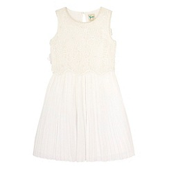 Yumi Girl - Cream 3D Floral and Pearl Pleated Dress