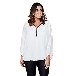 Mela London Curve - White chiffon plus size batwing blouse