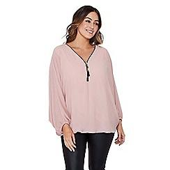 Mela London Curve - Mid rose chiffon plus size batwing blouse