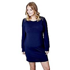 Mela London Curve - Blue beaded shoulder 'Hajra' mini tunic dress