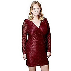 Mela London Curve - Red lace 'Tori' mini bodycon dress