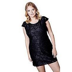 Mela London Curve - Black floral print 'Dana' mini sequin dress