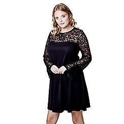 Mela London Curve - Black floral print 'Rhiannon' mini tunic dress
