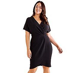 Mela London Curve - Black capped sleeve kimono wrap dress