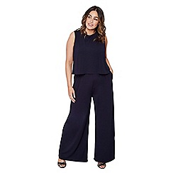 Mela London Curve - Navy slinky plus size wide leg trousers