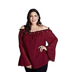 Mela London Curve - Red embellished bardot top