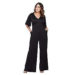 Mela London Curve - Black short sleeve fitted jumpsuit