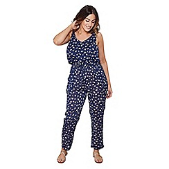 Mela London Curve - Navy floral print plus size jumpsuit