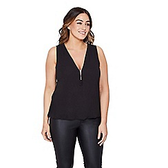 Mela London Curve - Black tassel zipper plus size top