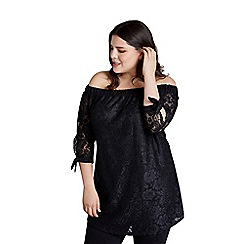 Mela London Curve - Black lace bardot top