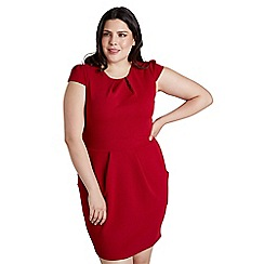 Mela London Curve - Red plain 'Dayzie' cap sleeve tulip dress