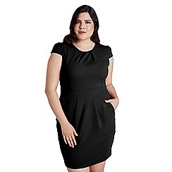 Mela London Curve - Black plain 'Breale' short sleeve tulip dress
