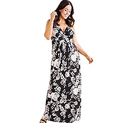 Mela London Curve - Black floral print plus size maxi dress