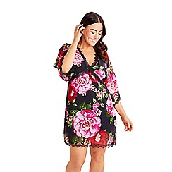 Mela London Curve - Black Floral Lace Trim Tunic Dress