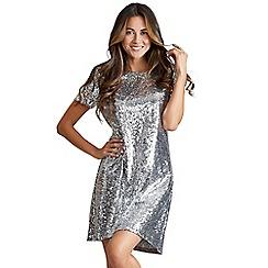 Mela London - Silver 'Cresie' embellished shift dress